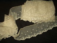 Antique Victorian 1920's Machine Embroidery Net Lace Trim Yardage From Garment
