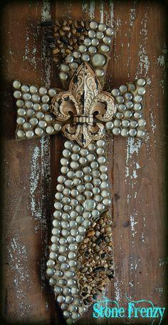 Cross decorative crossrock crossmosaic cross beaded by StoneFrenzy, $64.95