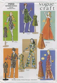 Retro Vintage Sewing Pattern | Doll Clothes for 11½ Fashion Dolls | Vogue 7552 | Year 2002 | A) Daisy Chain; B) Water Colors; C) Going Green; D) Orange Crush; E) Flower Power; F) Op Art