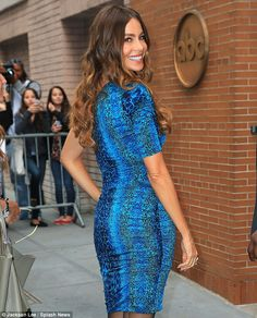 That's better: Sofia Vergara looked stunning in a blue snake print one-shoulder mini dress in NYC