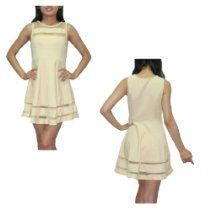 Womens Thai Exotic Sexy Stretchy Fit Sleeveless Clubwear Mini Dress / Party Dress - Beige
