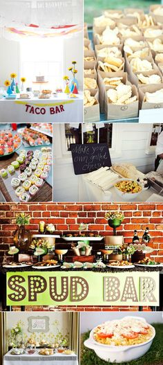 Party food station and dessert bar ideas #menus #reception #taco #spuds #potato #sushi #cocktails #chips #biscuits