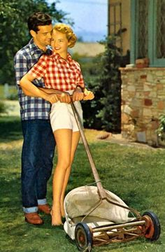 Lawn mowing - foreplay for the 1950's couple.  Oh yes, mowing the lawn is so very romantic.