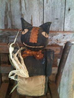 Primitive Folk ARt Black Cat Cupboard Doll Fall Halloween Autumn farmhouse prim #NaivePrimitive