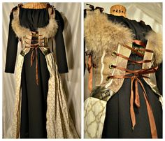 Renaissance costume game of thrones dress with wolf fur brown cream bodice medieval bride wedding dress peacock black chemise size small via Etsy