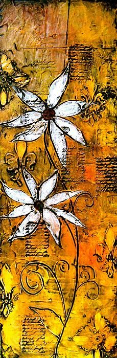 Daisies on yellow/orange background, textured abstract painting fine art print by Laura Carter