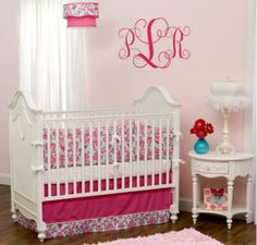 baby girls nursery bedding | hot pink raspberry sage green mint baby crib bedding nursery girls