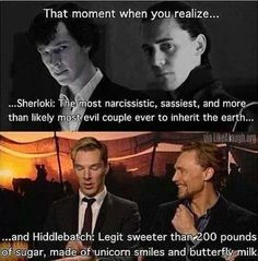 "Sherloki and Hiddlebatch. I'm pinning this soley for the phrase ""made of unicorn smiles and butterfly milk"""