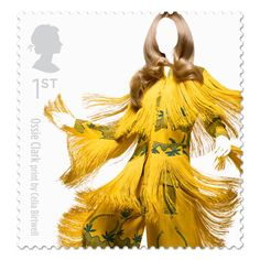 alexander mcqueen, stamp sets, royal mail, fashion stamp, ossi clark, clarks, british fashion, stamps, print
