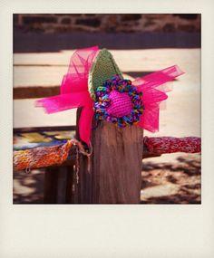 Yarnbombing captured in Polaroid style format. Love the creativity!