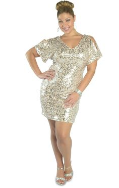 Curvy Girl Fashion sequin  dress with cold shoulder