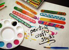 Painting craft sticks with kids