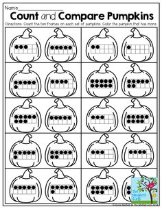 Count and Compare Pumpkins with Ten Frames!
