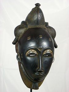 Fine African Tribal  Mask BAULE Mask Collectible African Art  No Reserve!