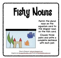 Free!! Fishy Nouns!  Matching card game for Irregular Plurals from pitnerspotourri!
