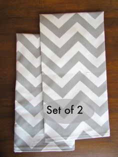 SET Of 2 CHEVRON Gray Kitchen TOWELS Hand Tea by SayItWithPillows, $22.95