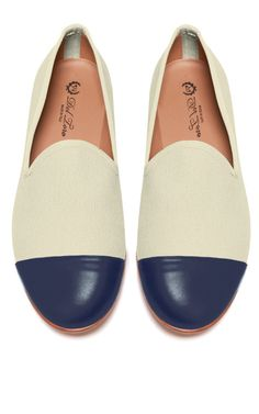 Del Toro Prince Albert  Sand Canvas Slipper Loafers with Navy Nappa Leather Captoe