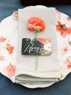 Wedding Stationery Inspiration: Bold Florals via Oh So Beautiful Paper: http://ohsobeautifulpaper.com/2014/02/wedding-stationery-inspiration-bold-florals/ | Place Card: Heart Felt by Bri via 100 Layer Cake | Photo: Whitney Neal