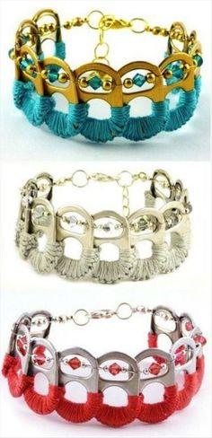 Do It Yourself Craft Ideas – 75 Pics idea, craft, soda tabs, pop tabs, bracelets, pop cans, tab bracelet, diy bracelet, jewelri