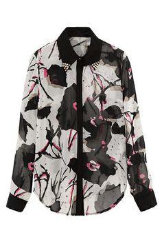ROMWE | ROMWE Floral Print Beaded Black Shirt, The Latest Street Fashion