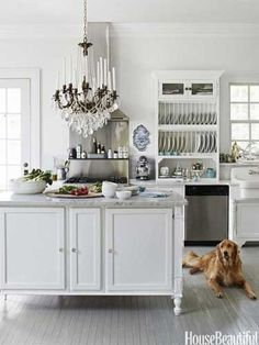 A dog in the kitchen. Design: Annie Brahler. housebeautiful.com. #dogs #pets #kitchen #chandelier