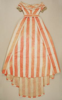 orange and white stripes -Dress, Evening  Date: ca. 1865  Culture: British  Medium: silk (probably), glass