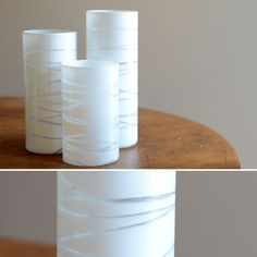make your own candle holders with string  spray paint