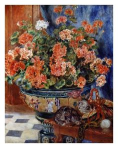 Geraniums and Cats Giclee Print by Pierre-Auguste Renoir at Art.com