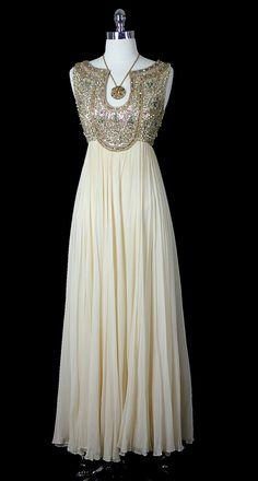 Vintage 50s 60s Mid Century Glamour Goddess Silk Chiffon Beaded Cocktail Party Wedding Dress