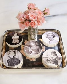 Love these photo coasters from Martha Stewart's birthday party