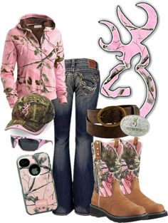 """Browning in Pink Camo"" by rinergirl ❤ liked on Polyvore. FOR KJ"