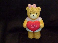 """1983 Lucy Rigg Lucy and Me Figurine Teddy Bear """"I Love You"""""""