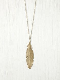 Free People bronze feather pendant necklace