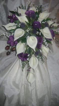 Takes my breath away !!! - Scottish Wedding Shower Bouquet - Cala Lily,Orchids,Thistle, Heathers - Posies.