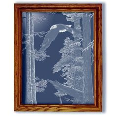 American Heritage Eagle Art Etched Small Rectangular Mirror