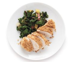 Baked Pecorino Chicken recipe: A crunchy coating of grated pecorino, bread crumbs, and butter breathes new life into boneless, skinless chicken breasts.
