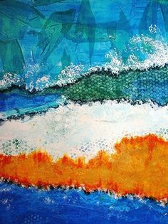"Mixed Media Artists International: ""Sea and Sand"" Original Contemporary Abstract Landscape Mixed Media Painting by California Contemporary Artist Barbara Van Rooyan"