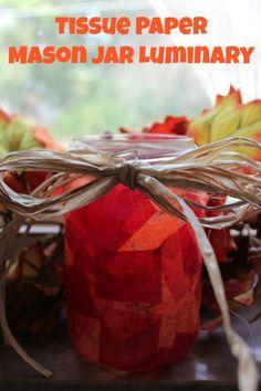 Tissue Paper Mason Jar Luminary DIY project tissu paper, paper luminari, mason jars, tissue paper mason jar, jar luminari