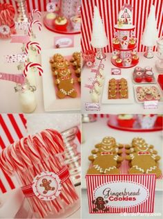 Christmas Candyland Desserts Table!! by Bird's Party  #christmas #candyland #partyideas #party #printabels #gingerbread #candycane #dessertstable