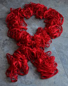 red sashay yarn ruffle scarf
