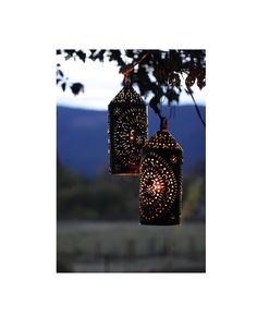 Punched Tin Light Lantern Primitive Rustic Vintage Hanging Lamp Pair Brown. $120.00, via Etsy.
