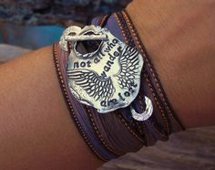 Silk Wrap Bracelet Artisan Jewelry Not All Who by HappyGoLicky, $49.00