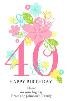 """Floral ladies 40th"" printable card. Customize, add text and photos. print for free! #Birthday #card"