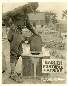 Baruch portable latrine. Fort Riley, Kansas. World War 1