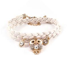 Crystal Owl Bracelet in Ivory