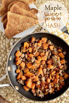 Maple Sweet Potato Hash paleo sausage recipes, paleo recipes with sausage, mapl sweet, food, breakfast, sweet potatoe hash, potatoes, sweet potato hash, iowa girl eats
