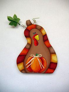Funky Folk Art Pumpkin Shaped Turkey Tole by barbsheartstrokes,