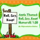 FREE!!! Apple Fall Themed: Roll, Say, Keep! Game  This is a game that can be used in a center or small group setting. It is appropriate for advanced preschoolers, kindergarten, special education instruction, or for any student that needs extra practice in learning their numerals 1-20. There is a lot of repetition to help students strengthen their knowledge of the numerals 1-20 and counting dots 1-6.