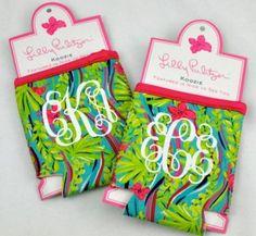 monogrammed koozies grad gifts, lilli pulitz, lilly pulitzer, lilli koozi, monogram lilli, bridesmaid gifts, bridal parties, bridal party gifts, monograms