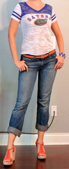 Outfit Posts: outfit post: vintage inspired gator shirt, boyfriend jeans, orange belt